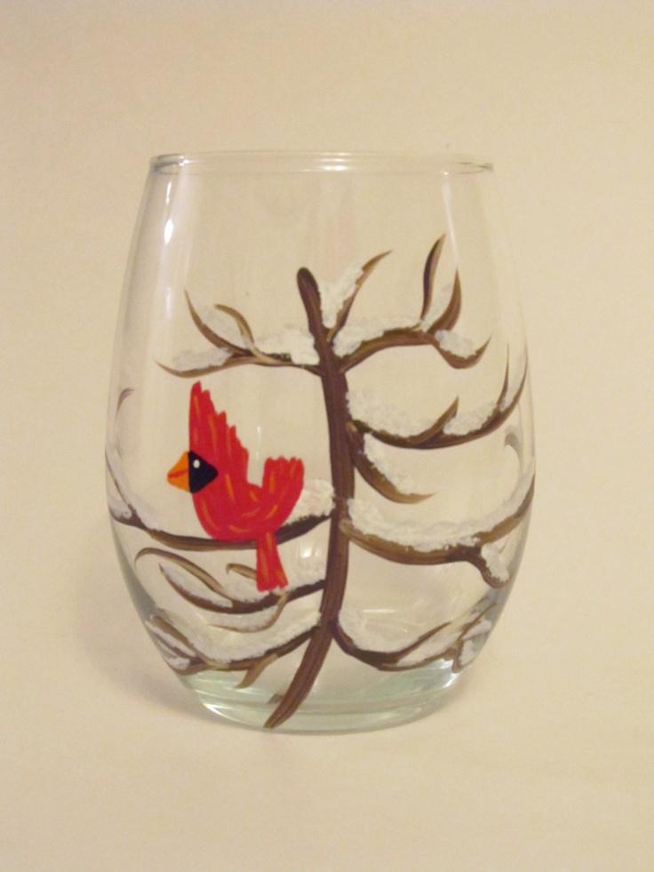 Stemless christmas cardinal on tree hand painted wine for Christmas painted wine glasses pinterest