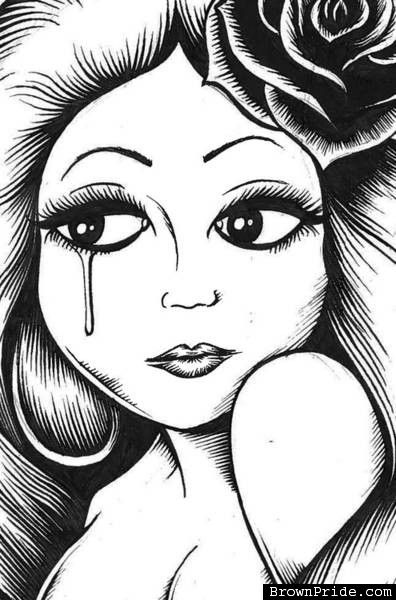 Chicano Art Coloring Pages CHOLA ARTE DRAWING Cholas and Cholos Art Pinterest