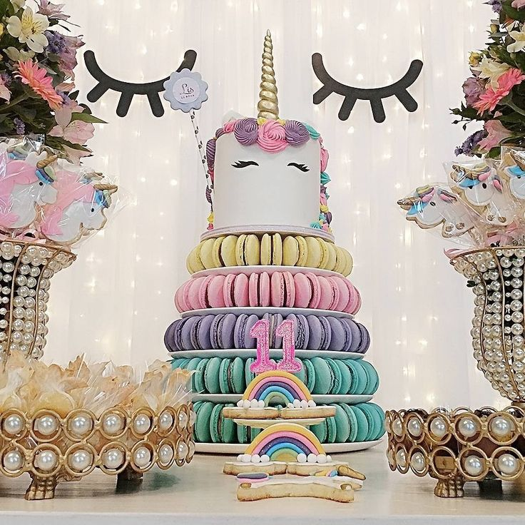 """58 curtidas, 1 comentários - Por Sinara e Luciara Sampaio (@mamaesfesteirasrs) no Instagram: """"Torre de macarons toda linda no tema #unicornio??? Temos!!! Essa aqui da @gourmellas ficou um…"""""""