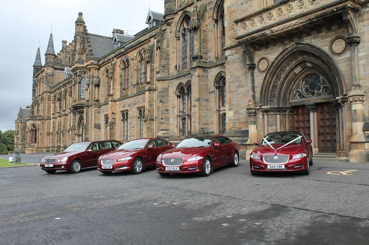 4 cars waiting for the wedding party at Glasgow University.