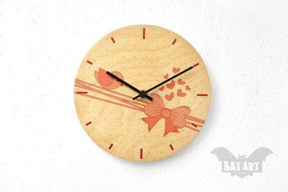 Girly Kids Wall Clock 20cm  Bird Bow design  Hearts by BatLab