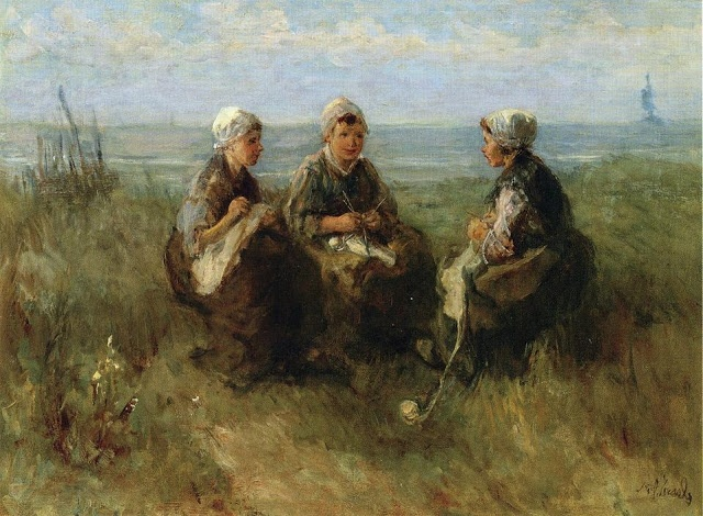 Jozef Israëls (Dutch Realist painter, 1824-1911) Three Women Knitting by the Sea