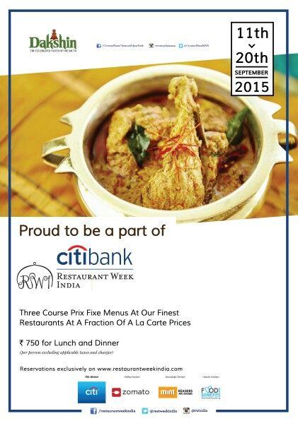 Proud to be a part of the #Restaurantweek #India.  11th to 20th September at #Dakshin #CrownePlazaChennai #AdyarPark
