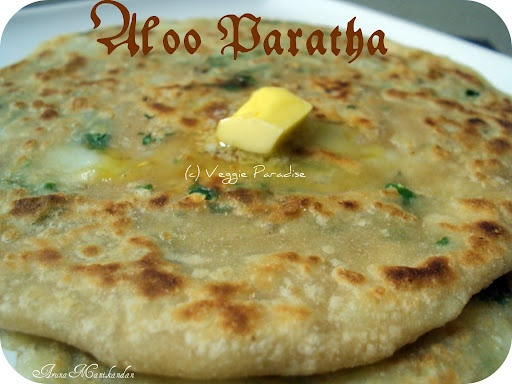 Aaloo parathas with Butter for breakfast