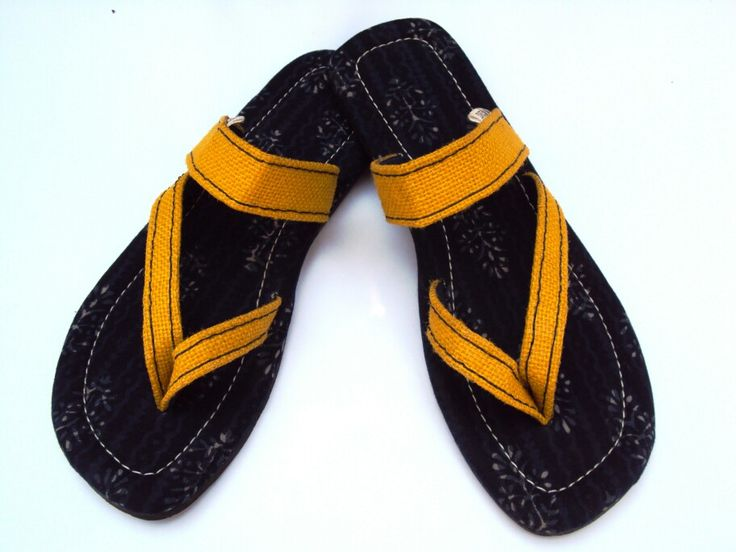 Beautiful eco-friendly slippers. Made out of discarded tyre soles and jute.