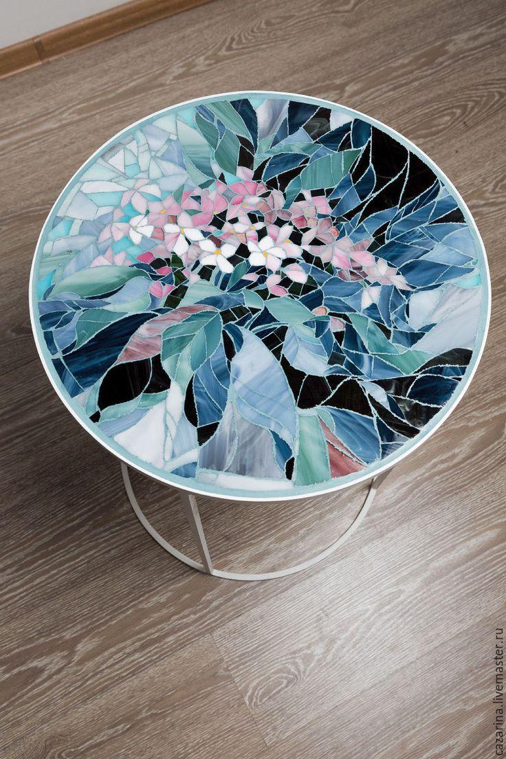 """Купить Кофейный столик """"АКВАРЕЛЬ"""" - тёмно-бирюзовый, стол, столик, прихожая, дизайн, Декор"""