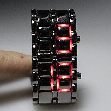 Men's Watches  - Pin it :-) Follow us .. CLICK IMAGE TWICE for our BEST PRICING ... SEE A LARGER SELECTION of men's watches   at  http://azgiftideas.com/product-category/mens-watch/  - gift ideas , valentines , mens  -   Black Metal Strip Digital Lava Style Iron Sport Mens Red LED Faceless Wrist Watch