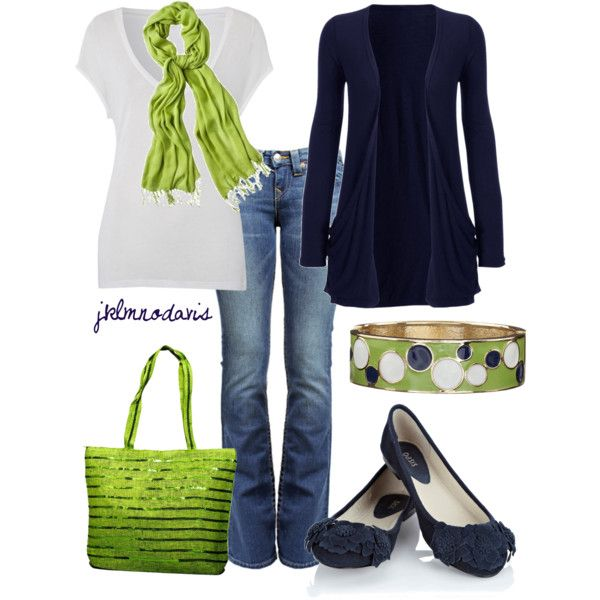 Casual Outfit: Colors Combos, Fashion, Color Combos, Style, Clothing, Limes Green, Lime Green, Casual Outfits, The Navy