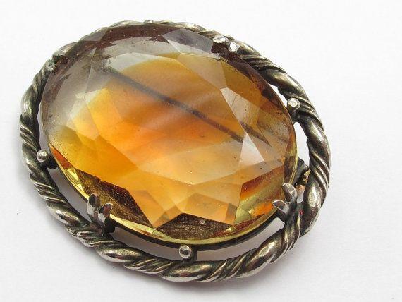 Large Vintage amber Stone Set Ornate Brooch by Freaklikemee