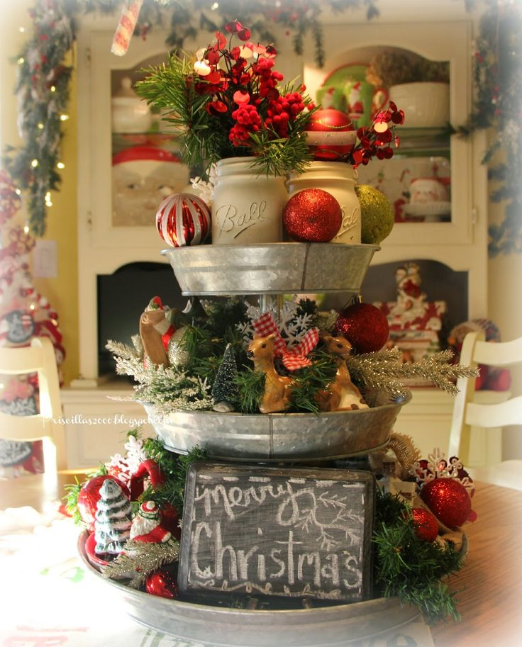 Priscillas: Christmas Galvanized Tray Centerpiece-So fun and can be changed for different holidays anytime of the year!