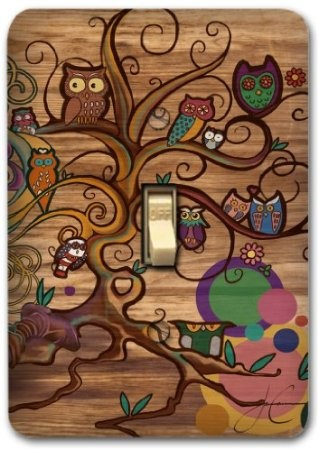 Retro Owl Brown Metal Light Switch Plate Cover Kitchen Bath Bed Home Decor 596