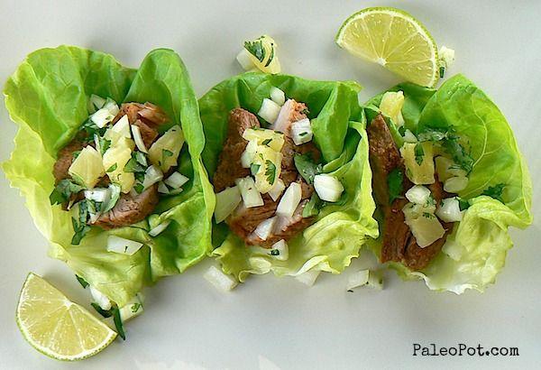 Slow Cooker Tacos Al Pastor (pineapple chile pork)   #PaleoPot
