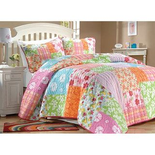 this floral quilt set would be perfect for a young girls room the quilt is available in twin or full sizes and includes one sham in the twin