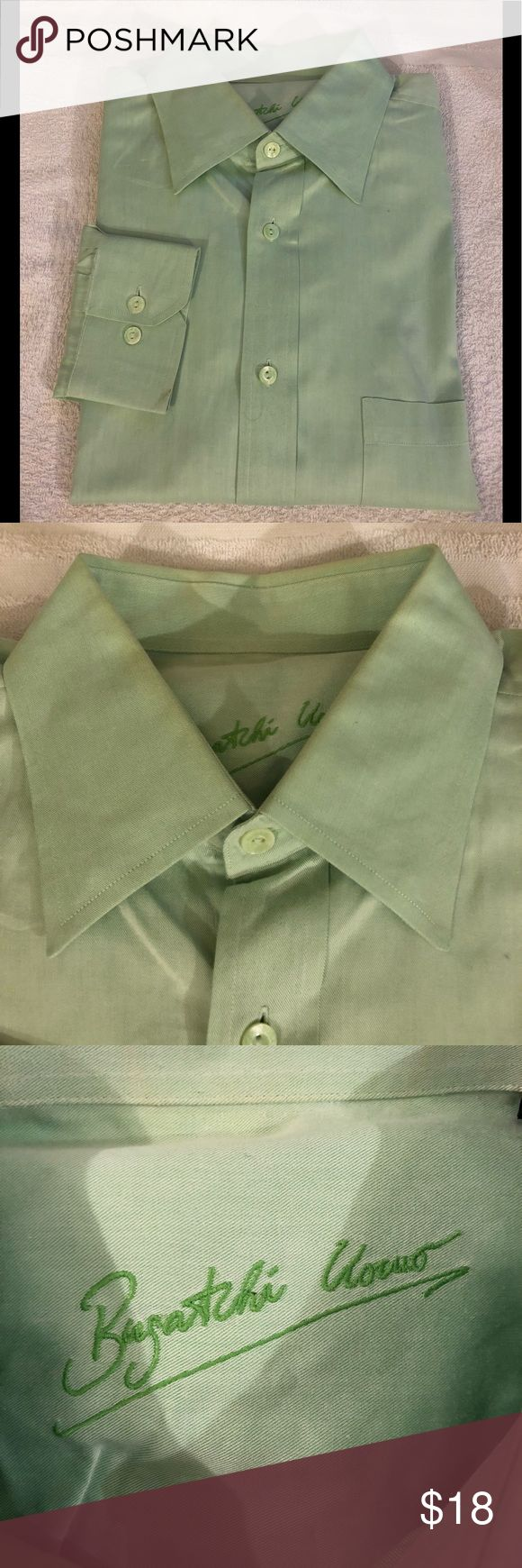 Bugatchi Uomo Solid Mint Green Shirt L Bugatchi Uomo Solid Mint Green Long Sleeve Shirt size L! Great condition! Please make reasonable offers and bundle! Ask questions! Bugatchi Shirts Casual Button Down Shirts