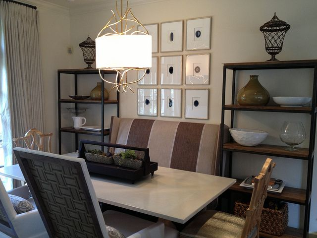 A lovely, symmetrical treatment for a dining nook.
