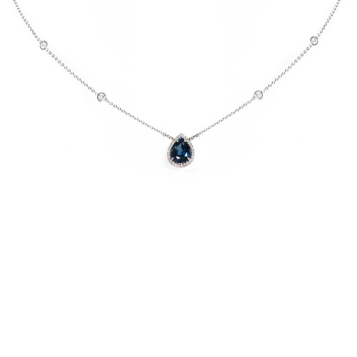 Pear Shape Blue Sapphire Pendant with Diamond Halo in White Gold : Soho Gem…