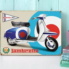 Large Lambretta SX150 Special Tin Plate 'Target' Wall Sign - Scooter/Garage/MOD in Home, Furniture & DIY, Home Decor, Plaques & Signs | eBay