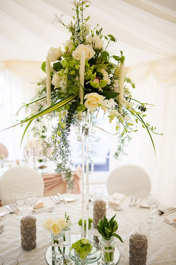 Flower Design Events: A Little Preview of Our Designs from our Open House Event: Crystal Candelabra Table Centrepiece