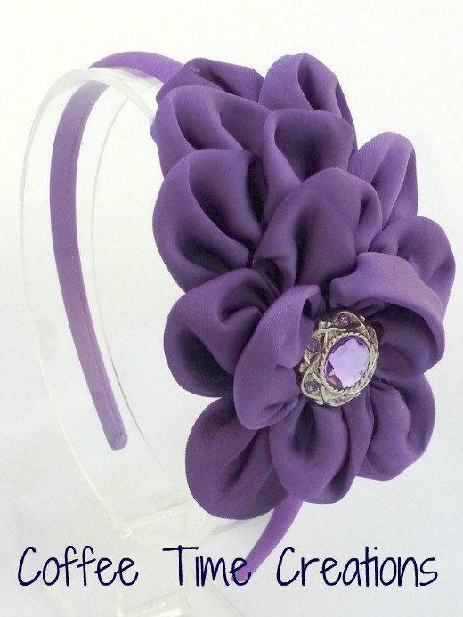 Kenley Headband Purple Satin Ruffle Flower Headband Toddler Teen Adult Hair Accessories. $10.00, via Etsy.