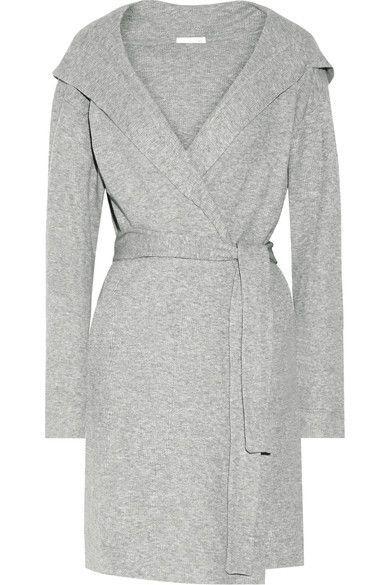 Skin - Waffle-knit Cotton Robe - Gray - 4