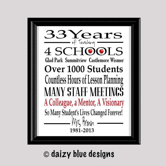 Teacher Retirement Gift Retired Teacher Gift by DaizyBlueDesigns, $9.84