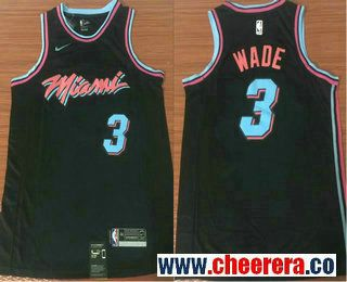 Men s Miami Heat  3 Dwyane Wade Black Nike NBA Swingman City Edition Jersey a46b3d356