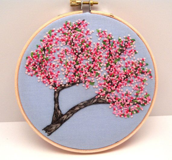 Cherry Blossoms Hand Embroidery, Hand Stitched Embroidery Hoop Art, Pink Spring Flowers