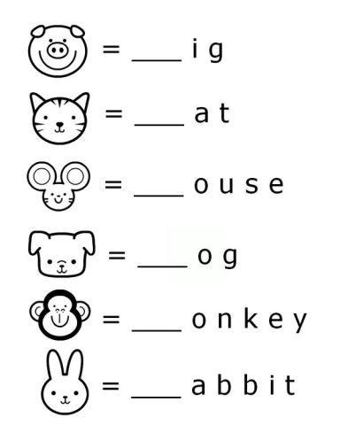FREE Printable Word Beginnings Letter Literacy Worksheet for Preschool