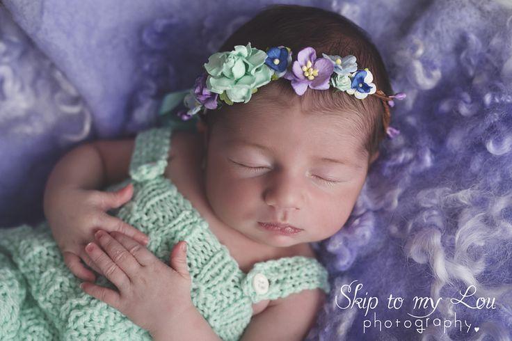 Melbourne Newborn and baby Photographer  Children Photography  Skip to my Lou - newborn purple aqua wrap pose floral headband