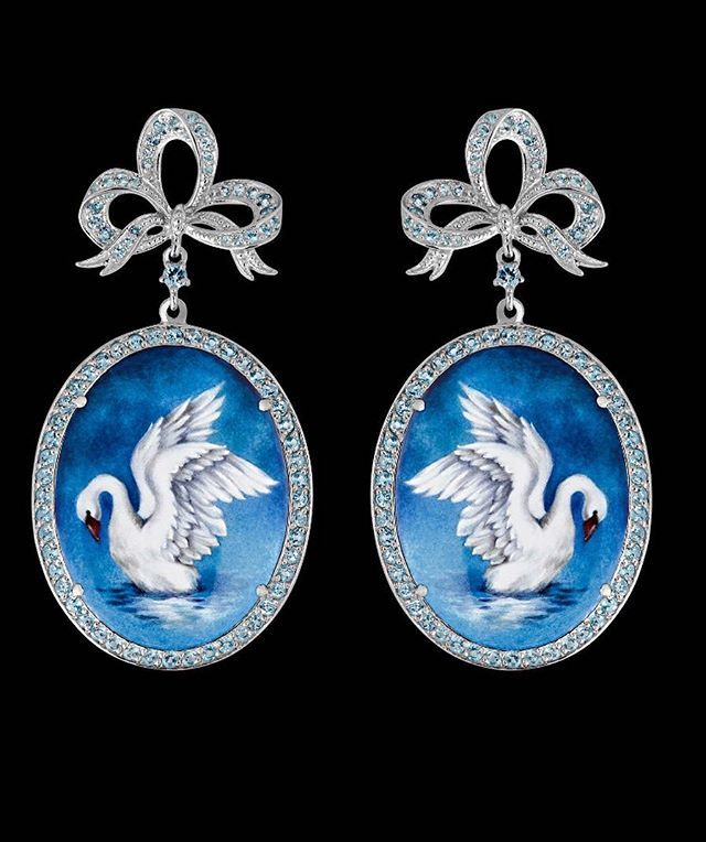 "Earrings ""Swan"" silver 925 enamel blue topazes  #axenoffjewellery  @axenoff"
