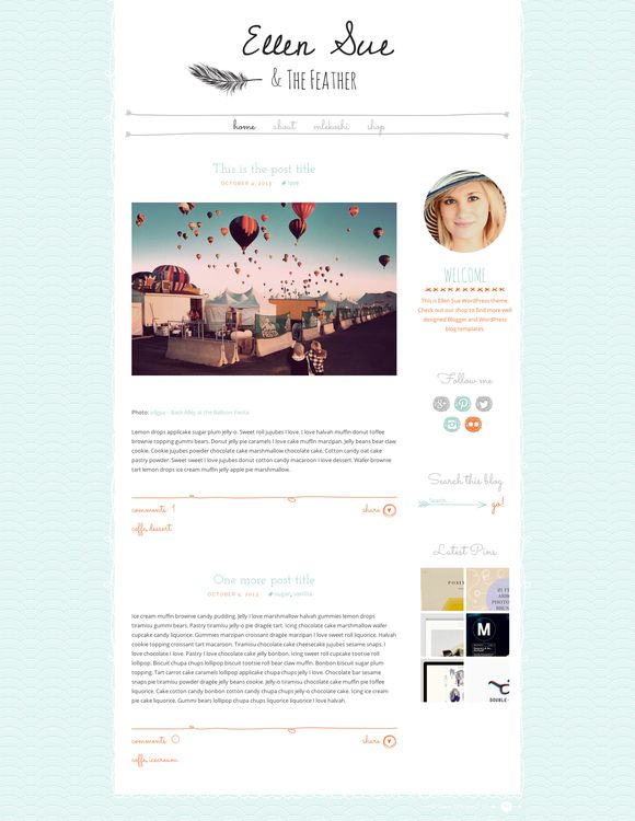 Ellen Sue - Cute WordPress Theme by Mlekoshi Playground on Creative Market