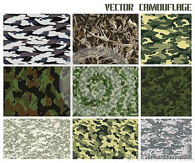 Winter and summer vector camouflage set. forest and urban. with a minimum number of layers