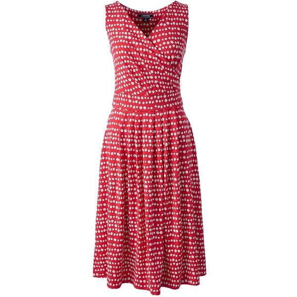 Lands' End Women's Petite Fit and Flare Dress ($59) ❤ liked on Polyvore featuring dresses, red, red dress, petite dresses, red evening dresses, fit and flare cocktail dress and summer dresses