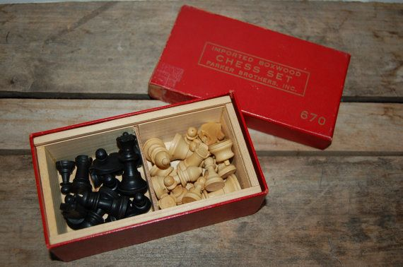 Vintage Boxwood Chess Set Parker Brothers Chess by JunkyardElves
