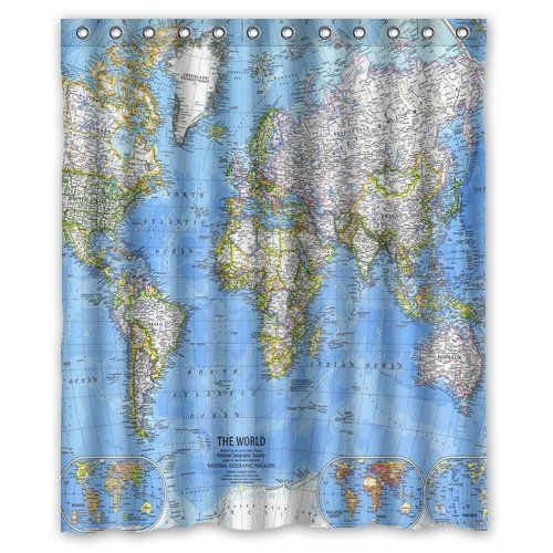 82 best pete needs a shower curtain too images on pinterest passive learning repetition is key world map shower curtainbath curtain helps with geography and world events sciox Gallery