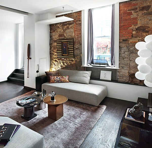 Exceptional Minimalist Living Room W/ Exposed Stone Walls Photo