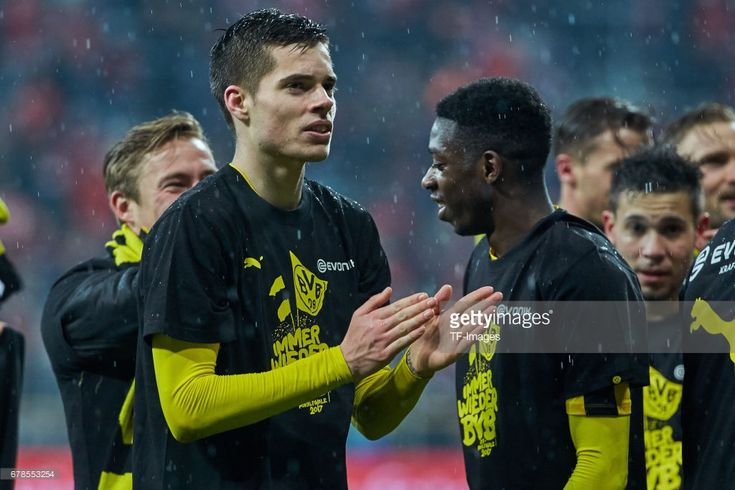 Julian Weigl of Dortmund celebrates the win after the final whistle during the German Cup (DFB Cup) semi final soccer match between FC Bayern Munich and Borussia Dortmund at the Allianz Arena on April 26, 2017, in Munich, Germany.