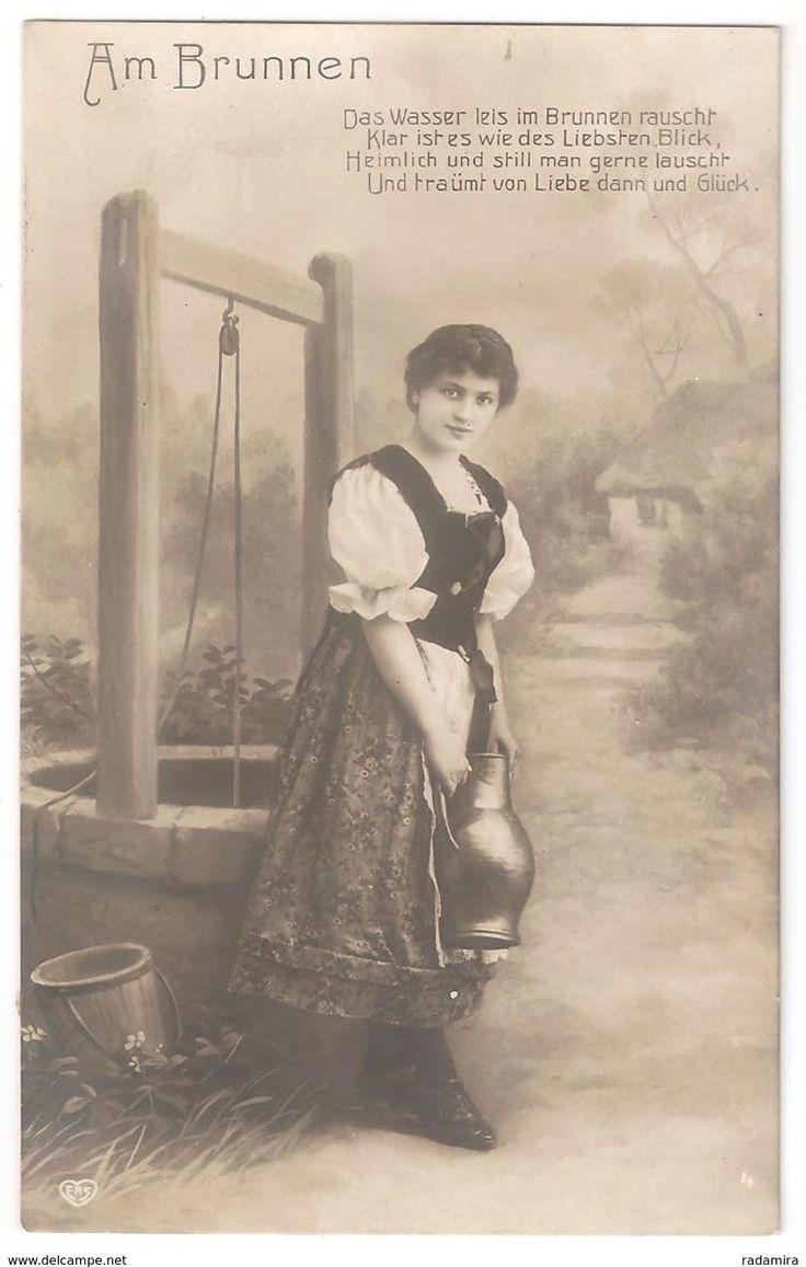 """Alt Ansichtskarte """"Аm Brunnen"""" Deutschland 1909."""