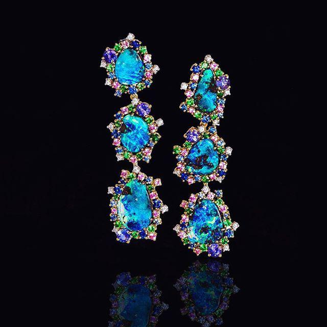 Mauro Felter Earrings - Australian Opals, Multicolour Sapphires, Tanzanite and Diamonds.