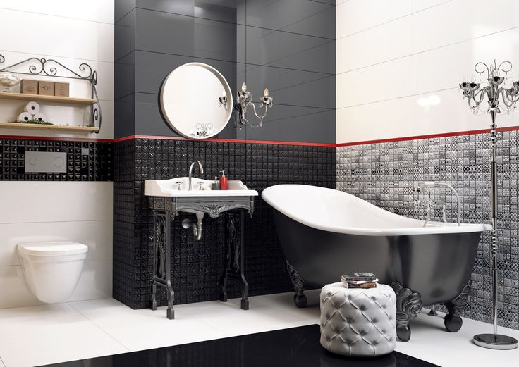 Boudoir bathroom in black & white (Opp! ceramic tiles 90x30 cm with Lace decorations)