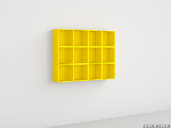 DVD wall storage in yellow lacquer / DVD Wandregal in gelber Lackierung