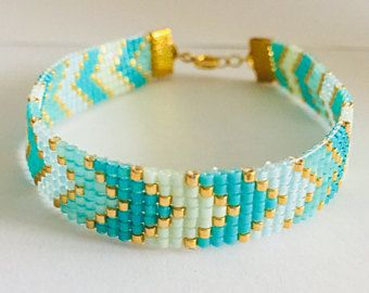 Mint Delica Beaded Bracelet Bead Loom Bracelets Patterns Gemstone