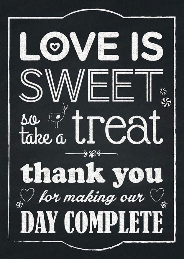 Love Is Sweet So Take A Treat Wedding Blackboard Sign Www
