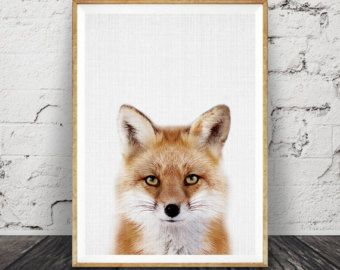 Fox Print Woodlands Nursery Wall Art Black White Grey by LILAxLOLA