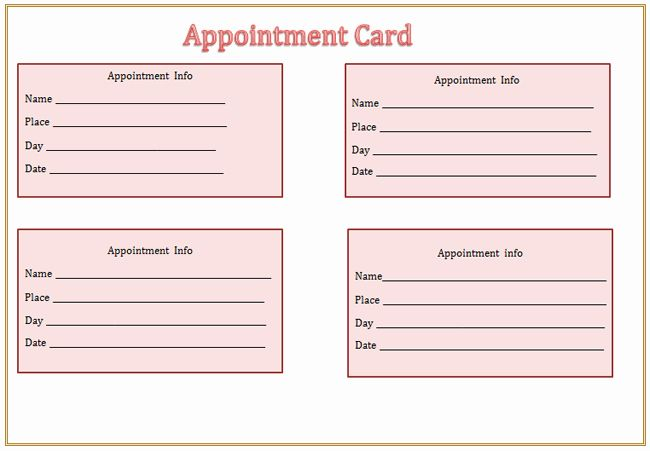 Free Printable Appointment Reminder Cards New Appointment Card Template Microsoft Word Templates Card Templates Free Appointment Cards Templates Printable Free