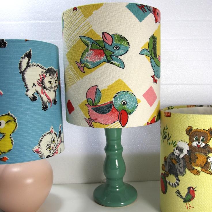 Image Of Vintage Fabric Nursery Lampshades