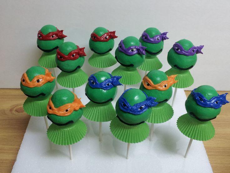 My first Ninja Turtle Cake Pops!