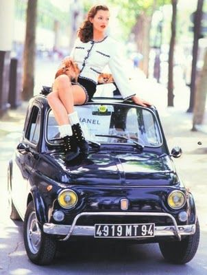 Kate Moss with the Cinquecento, AKA original Fiat 500.