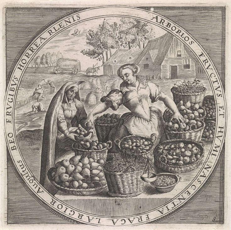 Augustus: fruitverkoopster, anoniem, Crispijn van de Passe (I), Maerten de Vos, 1574 - 1687. Kopie in spiegelbeeld naar de gelijknamige prent van Crispijn van de Passe (I).
