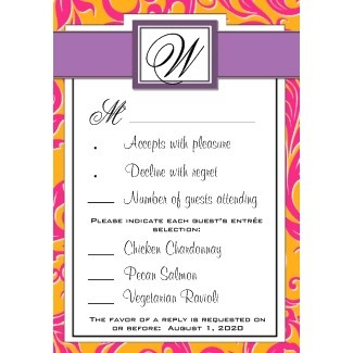 Monogram Damask Orange & Pink Wedding RSVP Cards invitation